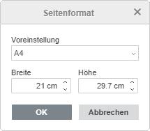 Benutzerdefinierte Seitengröße