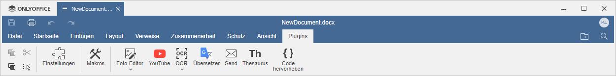 Registerkarte Plugins