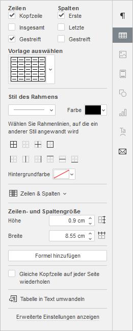 Rechte Seitenleiste - Tabelleneinstellungen