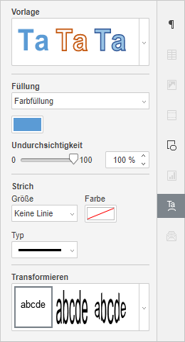 Registerkarte TextArt-Einstellungen