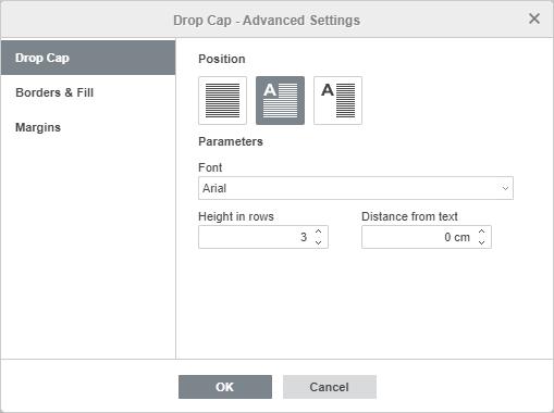 Drop Cap - Advanced Settings