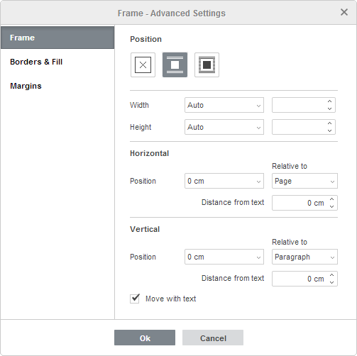 Frame - Advanced Settings