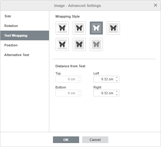 Image - Advanced Settings: Text Wrapping