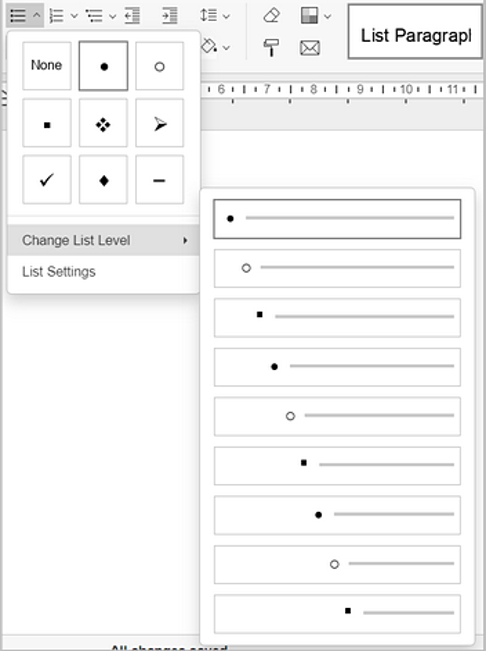 change list level