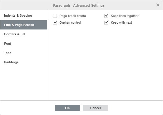 Paragraph Advanced Settings - Line & Page Breaks
