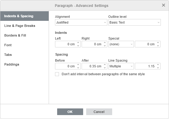 Paragraph Advanced Settings - Indents & Spacing
