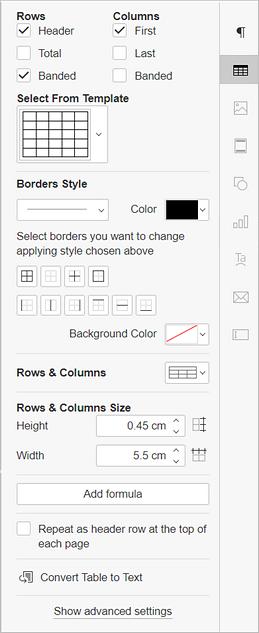 Right Sidebar - Table Settings