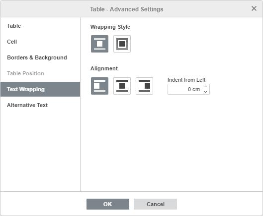Table - Advanced Settings