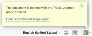 track changes mode alert
