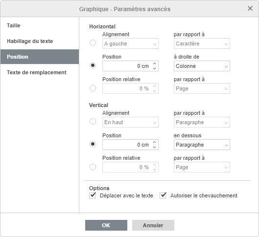 La fenêtre Graphique - Paramètres avancés Position