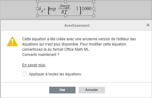 Conversion des équations