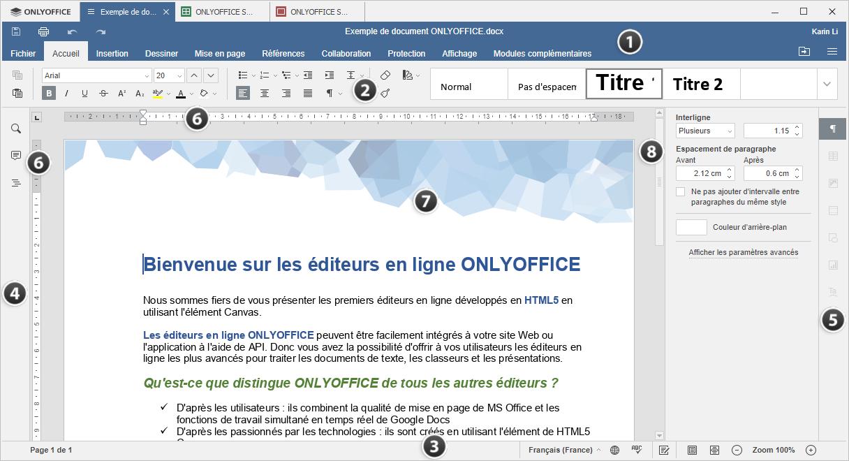 Fenêtre de l'éditeur de bureau Document Editor