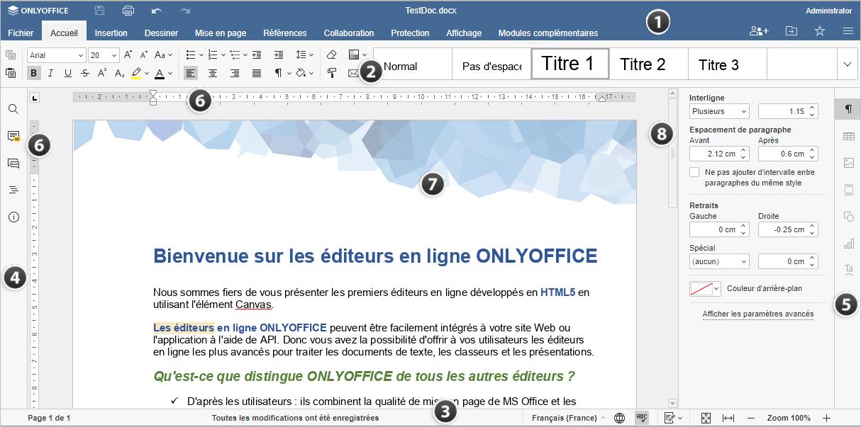 Fenêtre de l'éditeur en ligne Document Editor