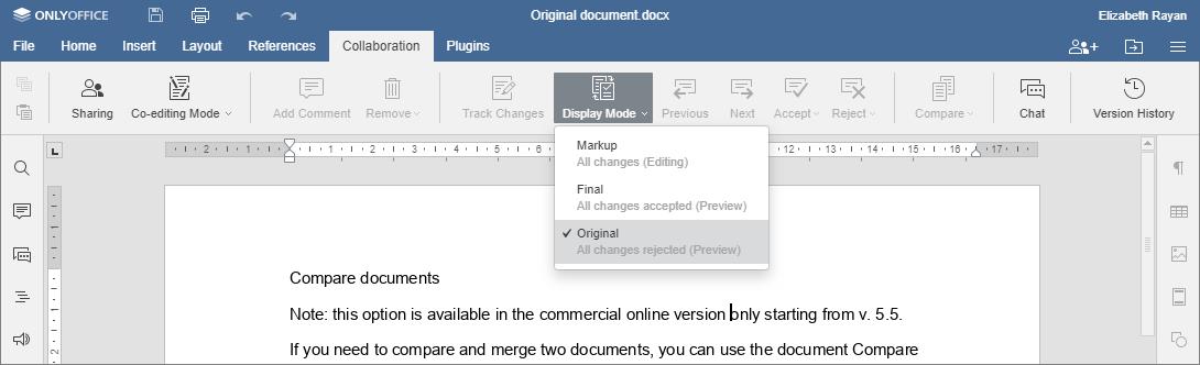 Compare documents - Original