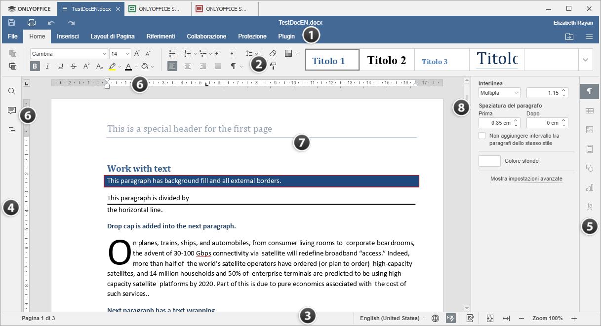 Finestra dell'Editor di Documenti Desktop