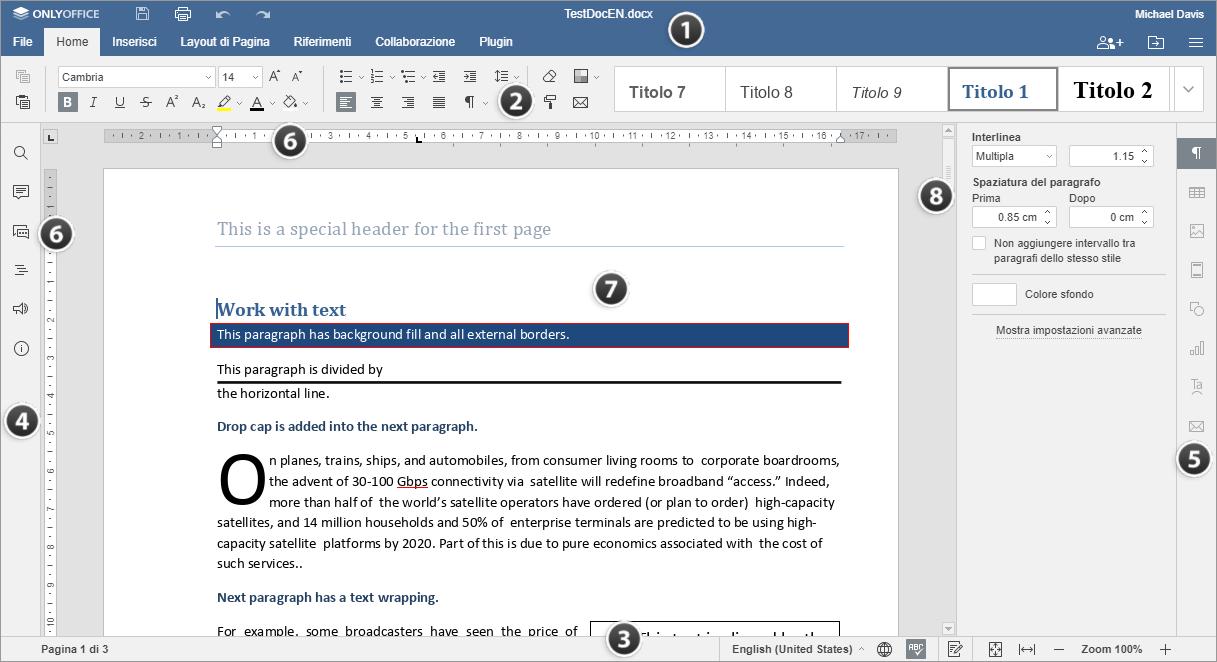 Finestra dell'Editor di Documenti Online