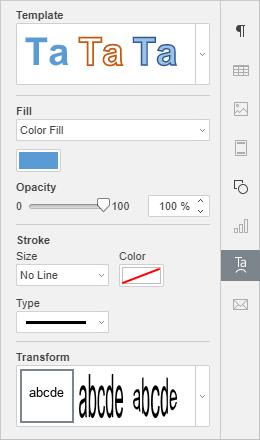 Text Art setting tab