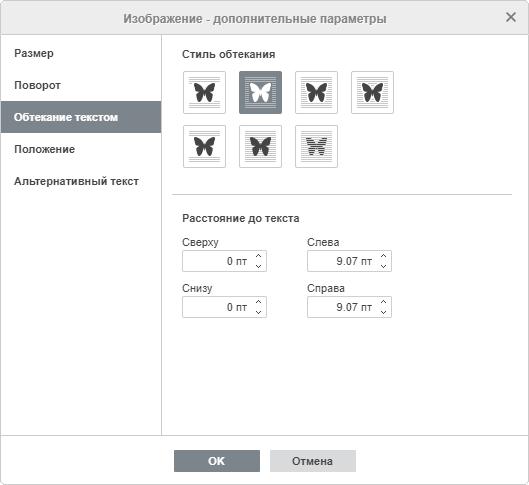 Изображение - дополнительные параметры: Обтекание текстом
