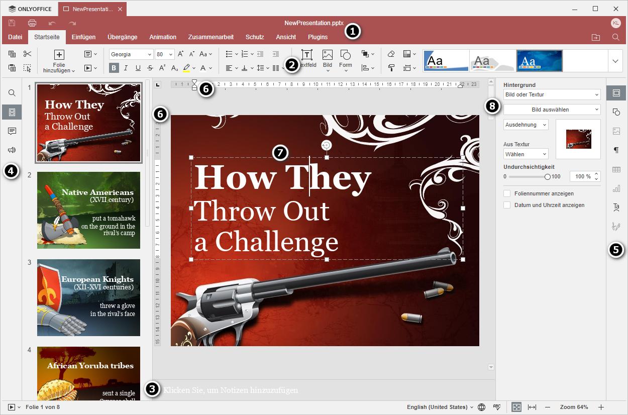 Benutzeroberfläche des Desktop-Präsentationseditors