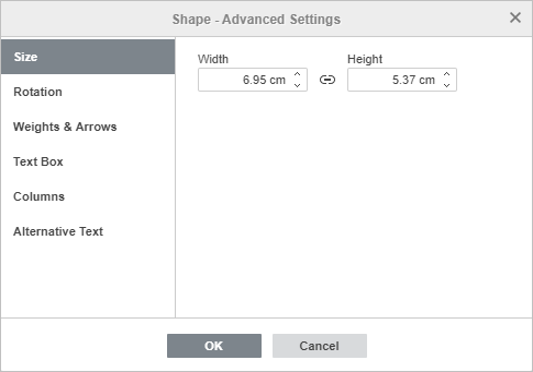 Shape Properties - Size tab