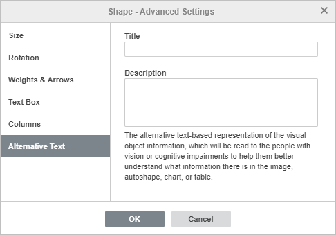 Shape Properties - Alternative Text tab