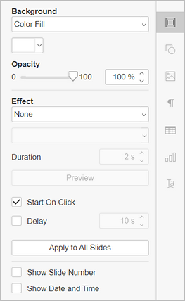 Slide settings tab