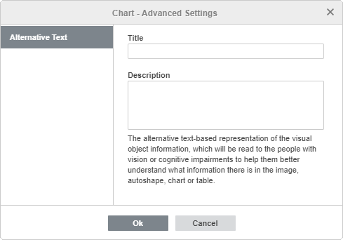 Chart Advanced Settings window