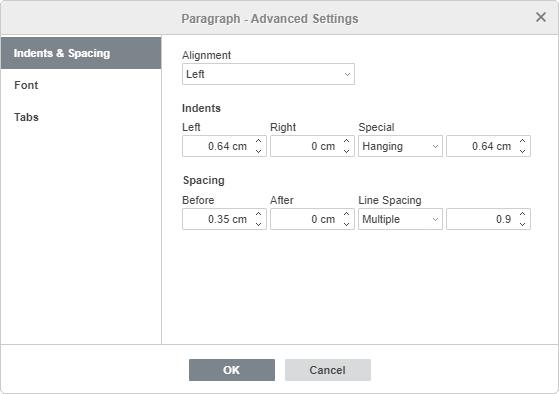 Paragraph Properties - Indents & Spacing tab