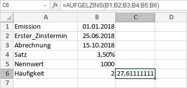 AUFGELZINS-Funktion