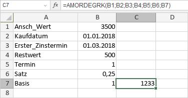 AMORDEGRK-Funktion