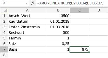 AMORLINEARK-Funktion