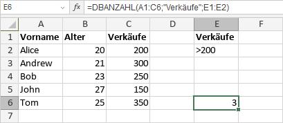 DBANZAHL-Funktion