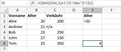 DBANZAHL2-Funktion