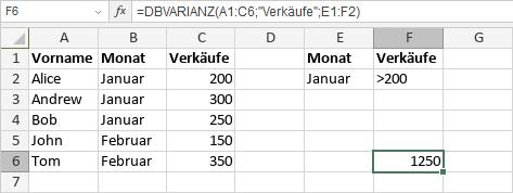 DBVARIANZ-Funktion