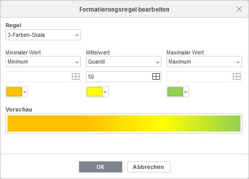3-Farben-Skala-Formatierung bearbeiten
