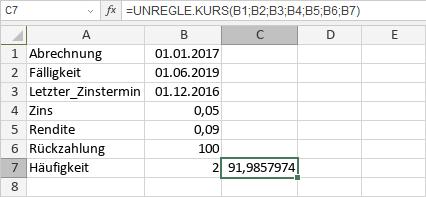 UNREGLE.KURS-Funktion
