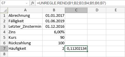 UNREGLE.REND-Funktion