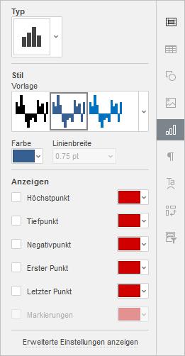 Dialogfenster Diagrammeinstellungen rechte Seitenleiste