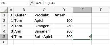 ZEILE-Funktion