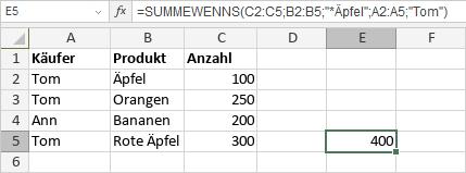 SUMMEWENNS-Funktion