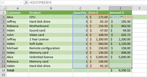Edit array formulas