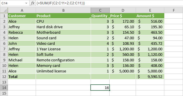 Use array formulas