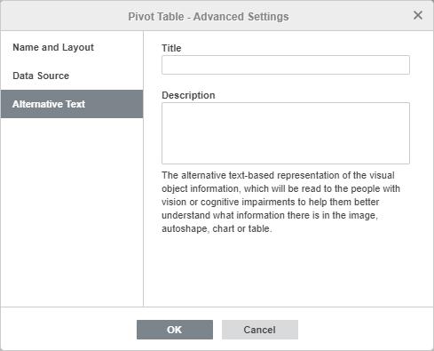 Pivot table advanced settings