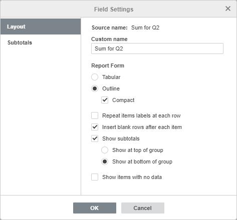 Pivot table Filters field settings