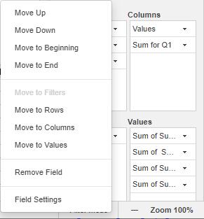 Pivot table menu