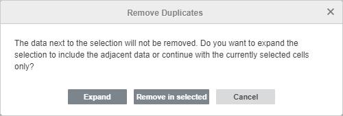 Remove Duplicates warning