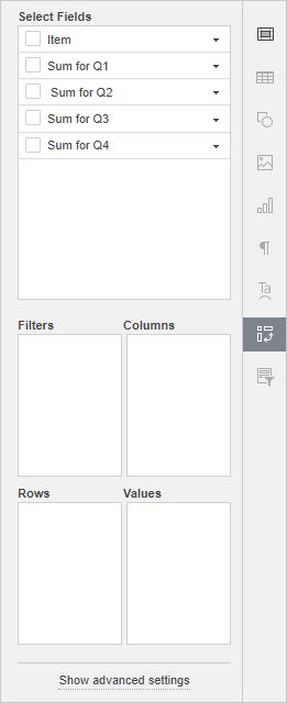 Pivot table settings tab