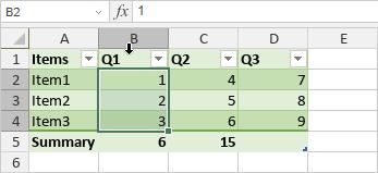Select column