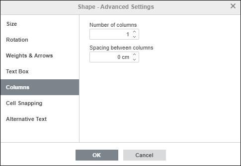 Shape Properties - Columns tab