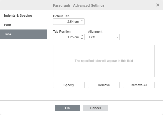 Paragraph Properties - Tab tab
